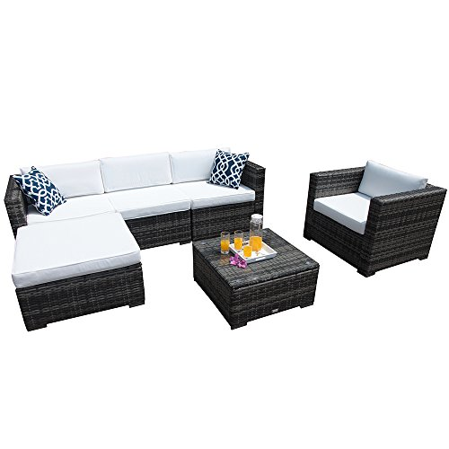 PATIOROMA Outdoor Patio Furniture Set 6 Piece Sectional Sofa Set with Grey Wicker White Cushions,Two Blue Throw Pillows