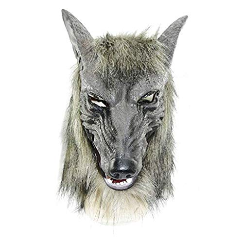 Wolf Head Mask Halloween Scary Overhead Werewolf Costumes Cosplay Party Props -
