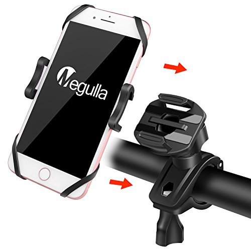 Megulla Bicycle Bike Phone Mount Holder, 360 Degrees Rotatable, with Slide-Proof Clamp, Rubber Strap, for Universal iOS Android Smartphones, GPS, and Other Devices