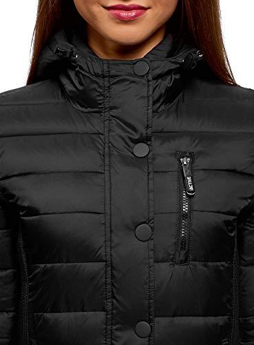 Mujer 2900n oodji con Acolchada Chaqueta Capucha Ultra Negro 7866wxqg5