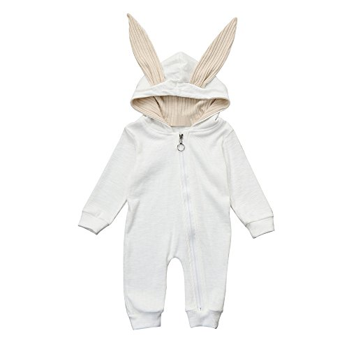 Baby Boys Girls Jumpsuit Hoodie Romper Outfit Long Sleeve Rabbit Bodysuit Clothes (Suit for : 0-3 Months, White)]()