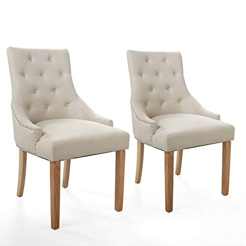 Cypress Shop Upholstered Chair Tufted Chair Dining Chairs Fabric Button High Back Backrest Roll Top Accent Dining Chair Classic Style Side Chairs Nailhead Living Room Home Furniture Set of 2 (Beige) (Chair Velvet Tub Crushed)