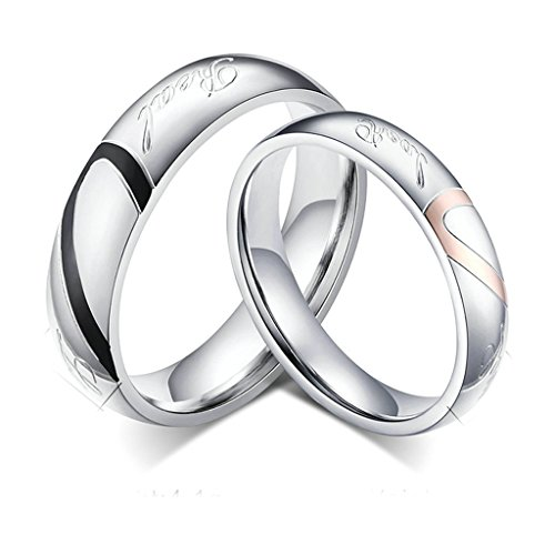 Daesar Mens Wedding Rings Stainless Steel Heart Puzzle Wedding Bands