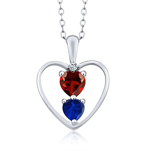 0.95 Ct Heart Shape Red Garnet Blue Simulated Sapphire Silver Pendant