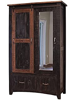 Distressed Black Anton Sturdy Solid Wood Sliding Barn Door Bedoom Armoire  With Hanging Storage And Functional