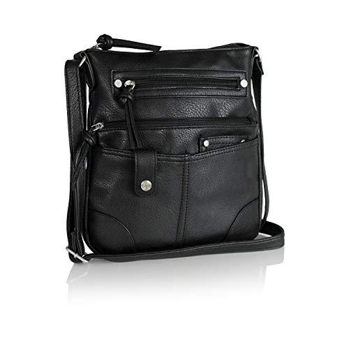 Ellie's Tribe Boho Messenger Vegan Leather Crossbody Bag Multi Pocket Purse with Zipper & Long Strap (Matte Black Vegan Leather)