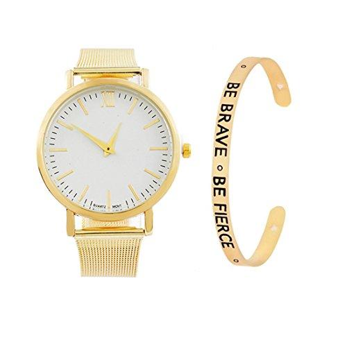 Loweryeah Women 2 Pcs Quartz Watch Cuff Engraved Bangle Bracelet Set Watch with Mesh Band (Gold Color)