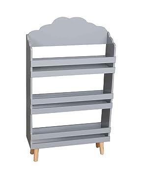 premium selection a1490 5b669 SR Wooden Grey Children's Kids bookcase with 3 shelves Cloud design Wooden  Legs