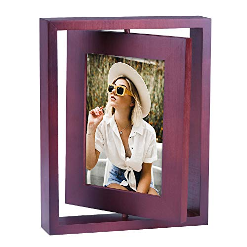 MUAMAX Rotating Photo Frame Double Sided Wood Picture Frame 5'' x 6'' Brown Frames with Glass Front for Vertically Table Top Display Wedding Family Love Baby Birth Memorial Swivel Frame