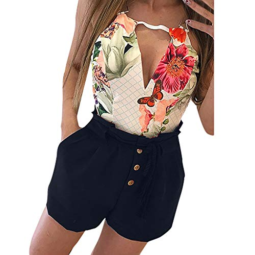 Stretch Moleskin Vest - hositor high Waisted Shorts, Ladies Solid Color Casual Elastic Waist Short Pants Trendy Drawstring Short Navy