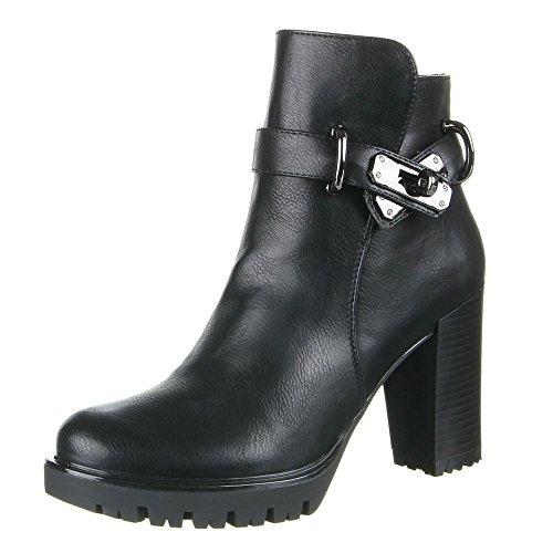 Ital-Design Damen Schuhe, B12211, Stiefeletten Schwarz
