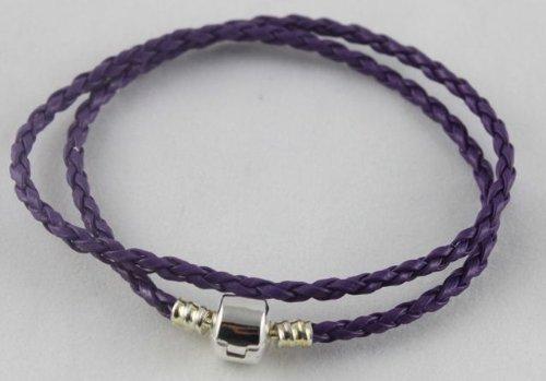 Pandora Style Braided Leather Bracelet Double Wrap W/ Silver Plate Clasp 35cm 38cm 41cm Various Colours (purple, 350mm)