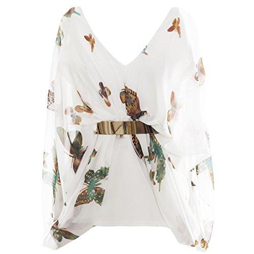 Oops Outlet - Haut Tunique Femme Mousseline drapé chauve-souris col V Boucle dorée motif papillon bohème - Grande taille 50, Crème vert