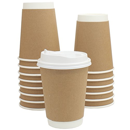 Zicome 12oz Double Walled Disposable Coffee Cups with Lids, Built-in Cup Sleeve, Set of 50