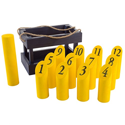 Wooden Throwing Game-Complete Set, 12 Numbered Pins, Throwing Dowel, Carrying Crate-Outdoor Lawn Games For Adults and Kids (Blue/Yellow) by Hey!Play!