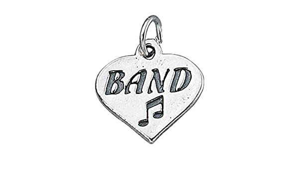 Sterling Silver Girls .8mm Box Chain Love BAND Message Heart Pendant Necklace Eighth Note
