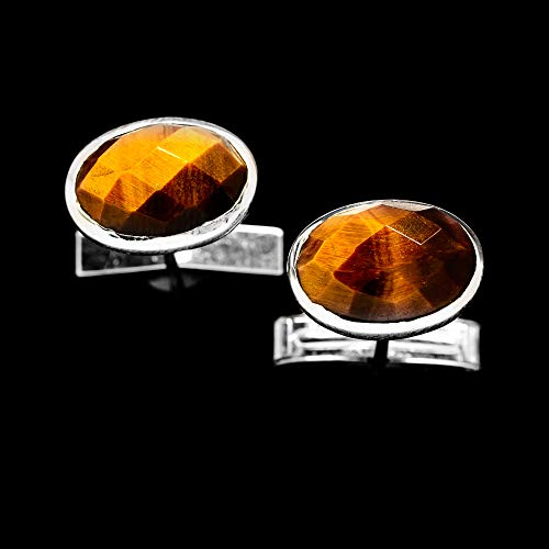 Ana Silver Co Tiger Eye 925 Sterling Silver Cuff Links 1