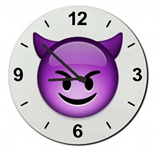 Purple Devil Emoji Kids Wall Clock 7.08