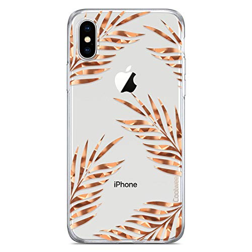 Coolwee Floral Case for iPhone X,iPhone Xs Rose Gold Clear Thin Shiny Glitter Women Girls Slim Cute Tropical Design Hard Plastic Back Soft TPU Bumper Protective Cover for Apple iPhone Xs 10S 5.8 inch - Ladies Rose Gold Case
