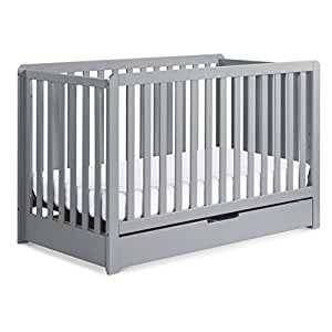 Carter's by Davinci Colby 4-in-1 Convertible Crib with Trundle Drawer in Grey, Greenguard Gold Certified