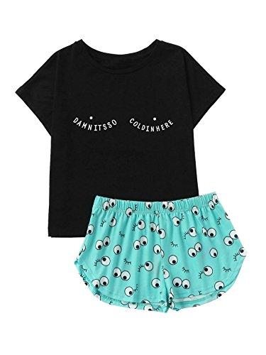 DIDK Womens Cartoon Eyes Print Top Shorts Pajama Set