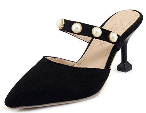 Aisun Women's Fashion Pointy Toe Medium Kitten Heels Mule Sandals Black kQfv2ycy