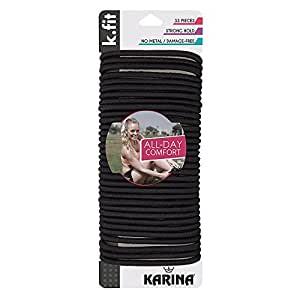 Karina K.Fit Thick Braided Elastics, Black, Medium
