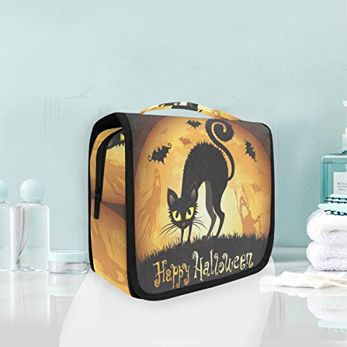Toiletry Bag Halloween With Black Cat Hanging Organizer Bag Wash Gargle Bag Cosmetic Bag Portable Makeup Pouch with Hanging Hook Travel -