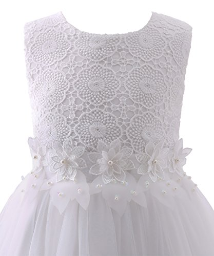 3a41c58c526e Abaosisters Flower Girl Dress Lace Crochet Bow Sash Party Wear 6-13 Year Old