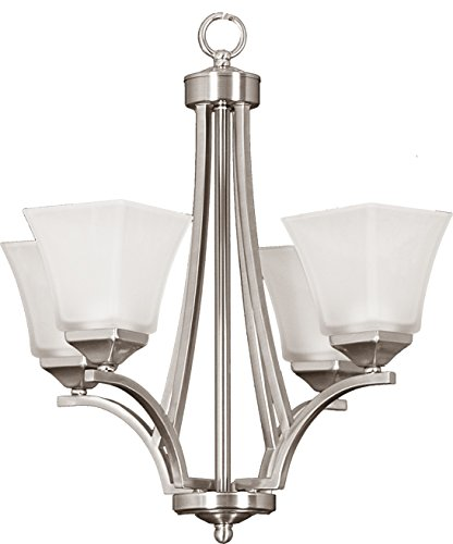 Four Light Interior Chandelier, Brushed Nickel Finish With White Glass By HOMEnhancements