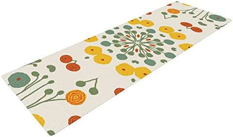KESS InHouse Laura Nicholson Ranunculas Exercise Yoga Mat, Floral Yellow, 72 by 24