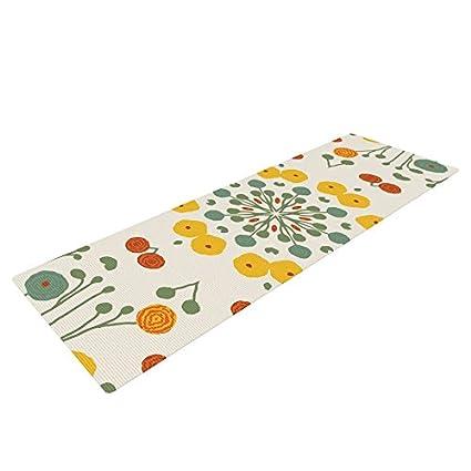 KESS InHouse Laura Nicholson Ranunculas Exercise Yoga Mat, Floral Yellow, 72
