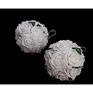 idyllic 6 Inch Kissing Flower Foam Ball Romantic Rose Pomander for Wedding Centerpieces Decorations Soft Touch 4 Pack 2
