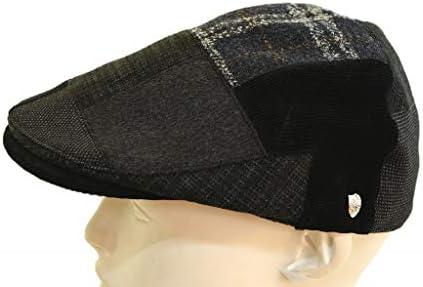 ハンチング D3765 メンズ 紳士 帽子 ハット パッチワーク カジュアル シンプル アウトドア 防寒対策 和装 プレゼント 敬老の日 サイズ調節可 日本製 ネット通販 秋冬