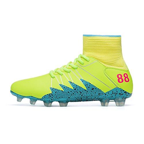 Xing Lin Chaussures De Football De Nouvelles Chaussures De Football Hommes Et Femmes Chaussures Chaussettes Aider Spike Haut De LAntidérapage Clou Rond Adultes Chaussures Jeunes, 43, Jaune Bleu