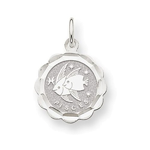 (Jewelry Adviser 14k White Gold Satin Polished Engravable Pisces Zodiac Scalloped Disc Char)