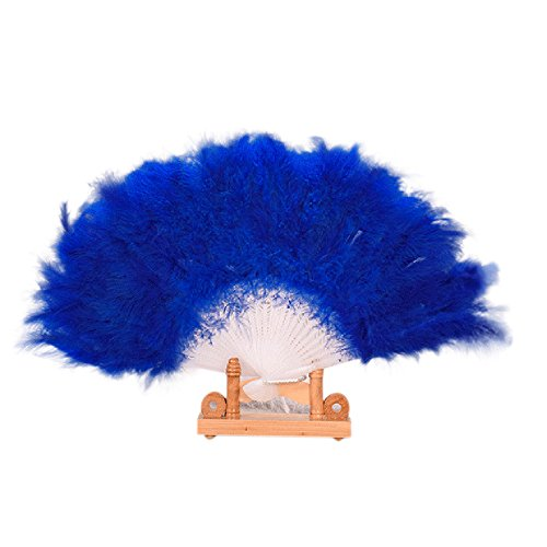 Feather Hand Fan Vintage Style Folding Handheld Marabou Feather Fan Flapper Accessories Dancing Fans Soft Women Lady Fancy Dress Costume Dance Feather Fan for Costume, Halloween, Party (Blue)]()