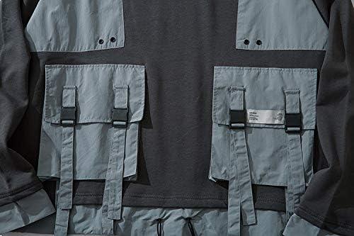 YDMZMS Herren Hoodie Buckle Bänder Multi Pockets Color Block Patchwork Pullover Sweatshirts Hoodies Harajuku Freizeitkleidung Tops L Schwarz