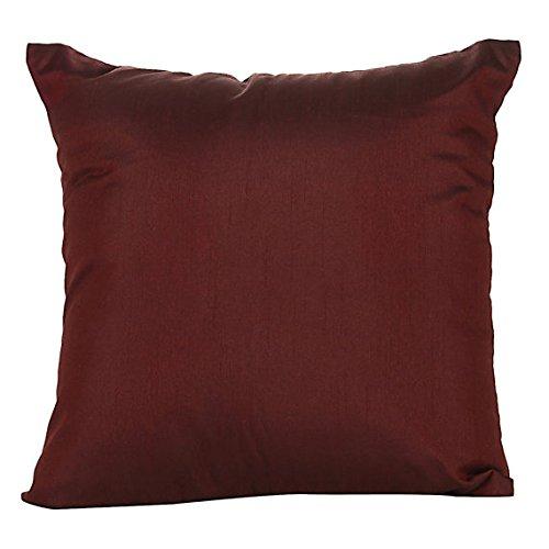 Set of 2 Burgundy Art Silk Pillow Covers, Plain Silk Cushion