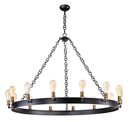 Maxim 26276BKNAB Noble 14-Light Chandelier, Black / Natural Aged Brass Finish, Glass, MB Incandescent Incandescent Bulb , 9W Max., Wet Safety Rating, 3000K Color Temp, Shade Material, 800 Rated Lumens