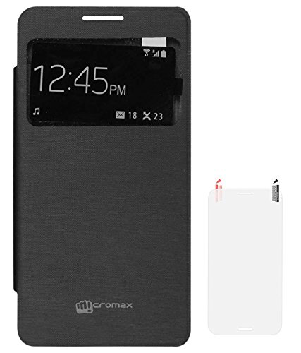 the best attitude bd53c 1353b DMG S View Smart Flip Cover Case for Micromax Canvas Doodle 3 A102 (Black)  + Matte Screen