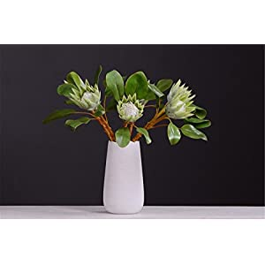 Zzooi Artificial Protea Cynaroides Fake Tropical King Protea Green 45