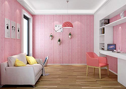 Junewind 3D Three-Dimensional Pattern Wallpaper Self-Adhesive Waterproof PVC Decorative Dormitory Background Wall - Pink (0.6 10M)