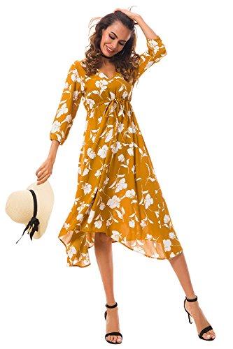 Tsher Women's Summer Three Quarter Sleeve Deep V-Neck Loose Chiffon Beach Dress 0058 (M, Mustard)
