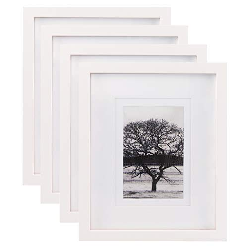 Egofine 8x10 Picture Frames 4 PCS - Made of Solid Wood HD Plexiglass for Table Top Display and Wall mounting photo frame White ()