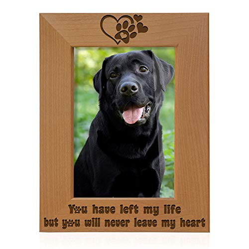 Kate Posh You Have Left My Life, but You Will Never Leave My Heart Natural Wood Engraved Picture Frame, Paw Prints on My Heart Memorial Gifts for Cat or Dog, Pet Sympathy Memory Gift (4x6 Vertical)