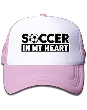 Soccer in My Heart On Children's Trucker Hat, Youth Toddler Mesh Hats Baseball Cap