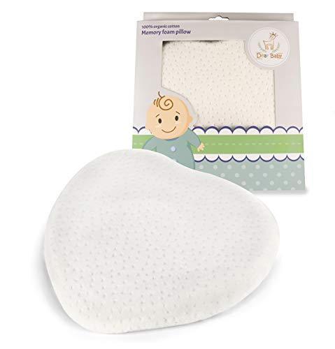 Newborn Pillow to Prevent Flat Head Syndrome (Plagiocephaly) Head Shaping Pillow Prevents Acid Reflux Machine Washable Velvet Cover by Dear Baby