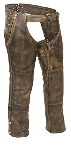 Mens Distressed Leather 4 Pocket Thermal Lined Chaps, Brown Size M