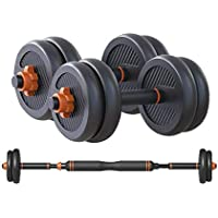 Skyland Enviromental Adjustable Dumbbell N Barbell Set For Unisex Adults - Black